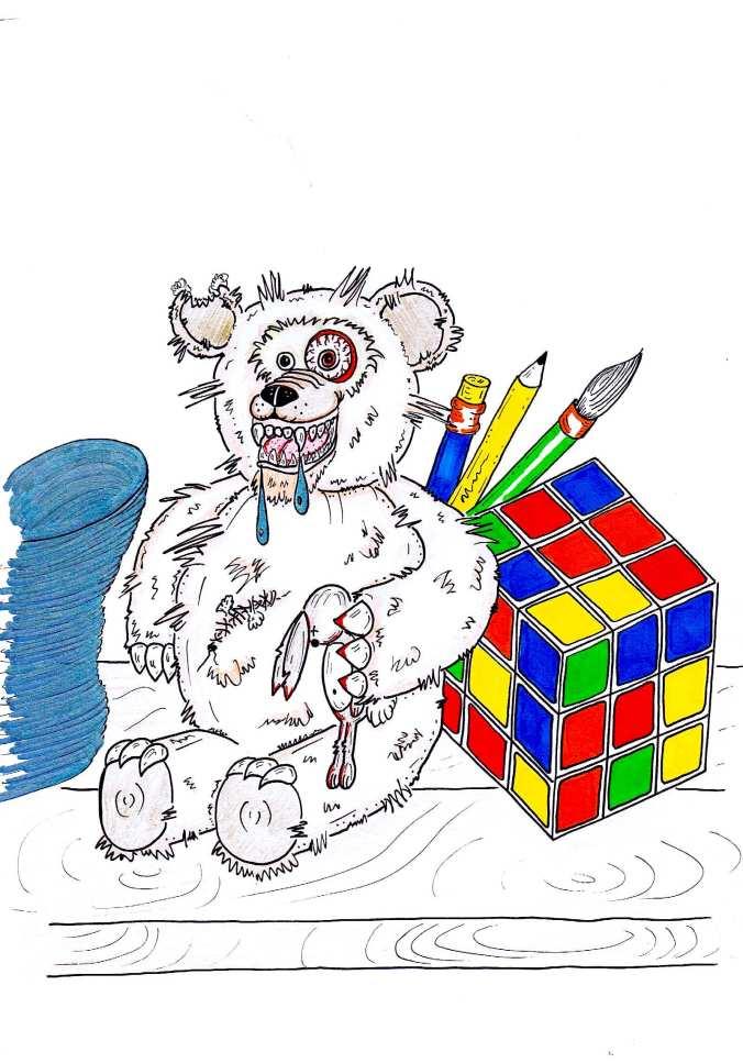 evil teddy bear rubix cube art illustration toy shelf brighton artist